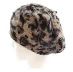 ヒョウ柄ベレー帽